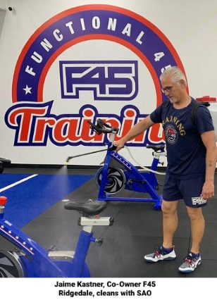 F45 fitness center uses Stabilized Aqueous Ozone, or SAO to clean effectively and safely without chemicals